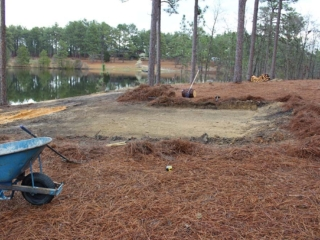 Land clearing for patio, hardscaping in Pinebluff, NC