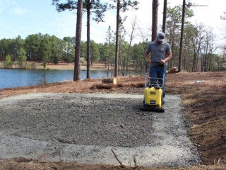 Tamping for Fire Patio Installation, Pinebluff, NC